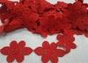 Кружево гипюр ромашка ROM268-4 (красный) Цена за 7,5 ярд (6,8 м)